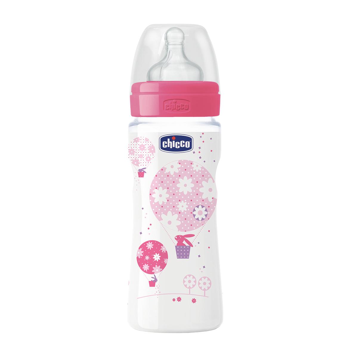 Fľaša bez BPA Well-Being silikónový cumlík rýchly ružová 330ml
