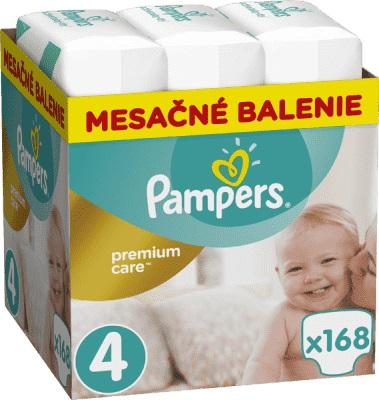 Mesačná zásoba plienok Premium Care 4 MAXI 9-14kg 168ks Pampers