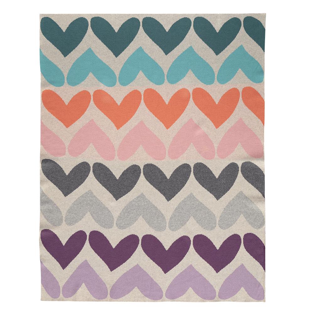 Deka Harmony Pure Hearts 100% bavlna 80x100 cm Petite&Mars