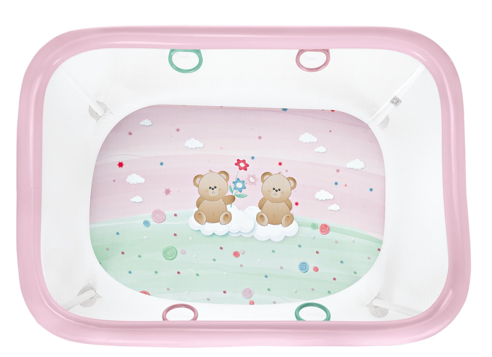 Ohrádka detská ROYAL  -  medvedík ružový 110x80 cm
