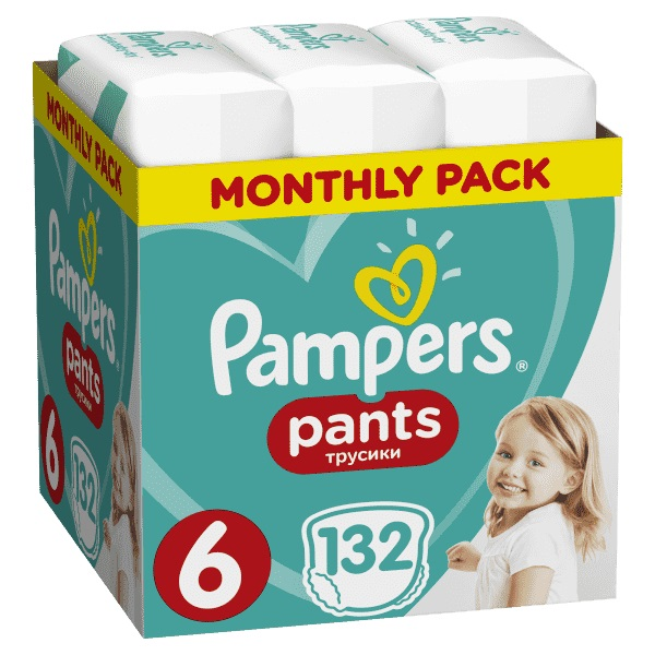 Mesačná zásoba plienkových nohavičiek ActivePants 6 EXTRA LARGE 15+kg 132ks Pampers