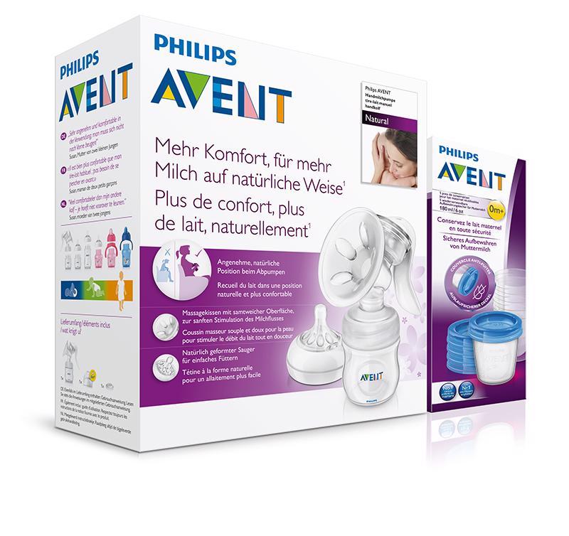 Avent odsávačka mlieka Natural+5ks VIA 180ml