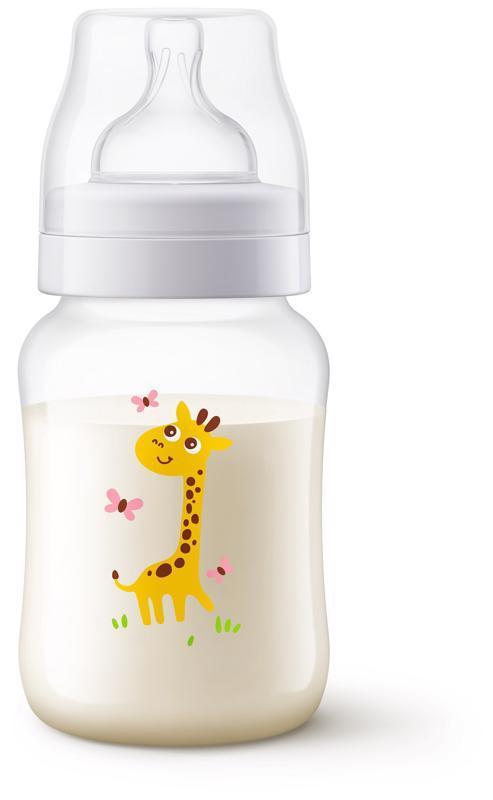 Avent fľaša 260ml Antikolik žirafa