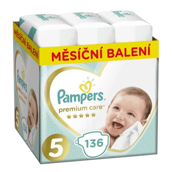 Mesačná zásoba plienok Premium Care 5 JUNIOR 11-16kg 136ks Pampers
