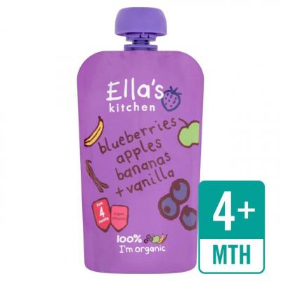 ELLA S Kitchen Ovocné pyré – čučoriedky, jablká, banány a vanilka (120g)
