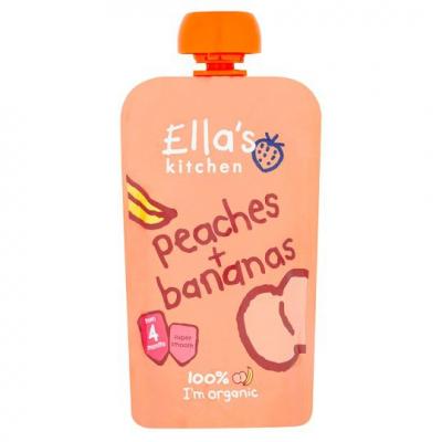 ELLA S Kitchen Ovocné pyré – broskyne a banány (120g)