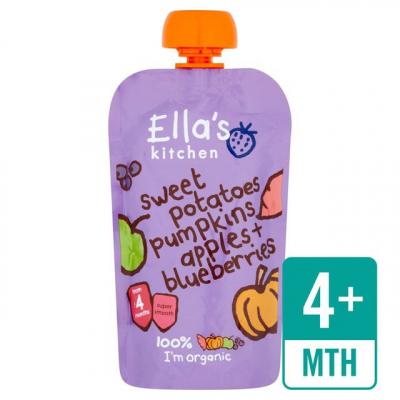 ELLA S Kitchen Zeleninové pyré – sladký zemiak, tekvica, jablko a čučoriedky (120g)
