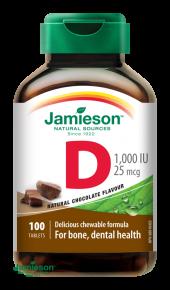 Jamieson Vitamín D3 1000 IU čokolády 100 tablet