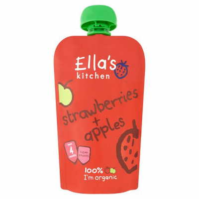 ELLA S KITCHEN Ovocné pyré – jahody a jablká (120g)