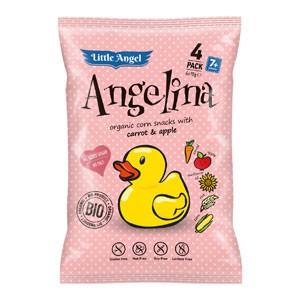 Little Angel Snack kukuričný Angelina mrkvu a jablko BIO 4x15g