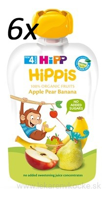 HiPP BIO 100% ovocia Jablko Hruška Banán 6x100 g