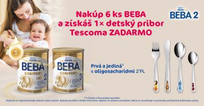 Nakúpte 6 ks BEBA COMFORT 800g (2,3,4) alebo  BEBA OPTIPRO HA 800g (2,34,) a získajte TESCOMA príbor