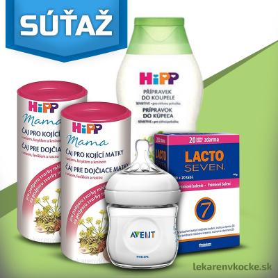 Súťaž o darčekový balíček ktorý obsahuje výrobky od firiem HIPP, Avent a Lacto Seven