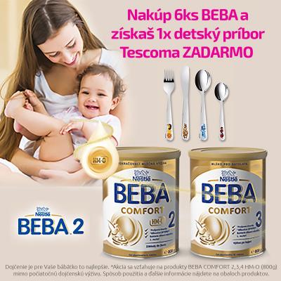 Nakúpte 6 ks BEBA COMFORT (HMO) 800g (2,3,4)  a získajte TESCOMA príbor BAMBINI Veselé zvieratká