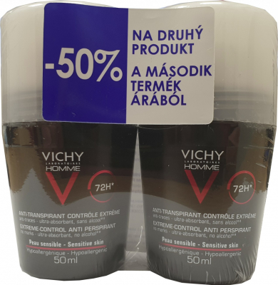 VICHY HOMME DEO ROLL-ON PROTI POTENIU DUO 72H antiperspirant (VCZ91505) 2x50 ml