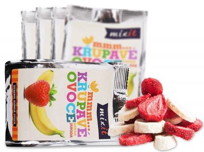 Mixit - Chrumkavé ovocie do vačku - Banán + Jahoda